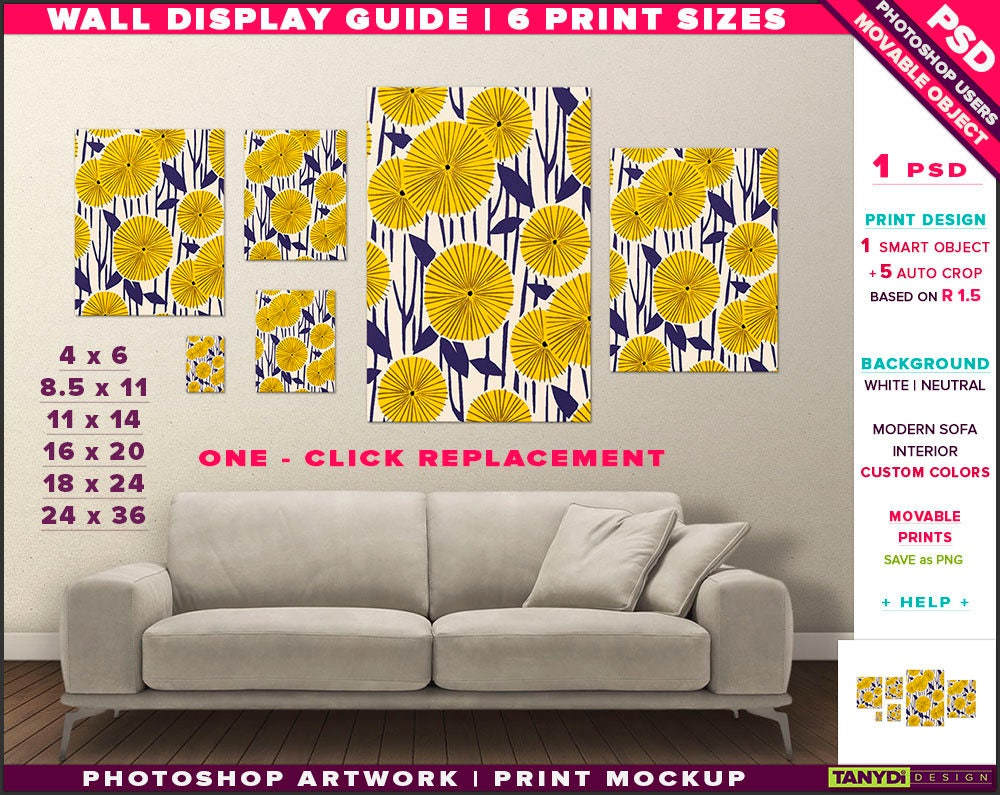 Wall Display Guide 6 Print Sizes Photoshop Mockup 24x36 | Etsy