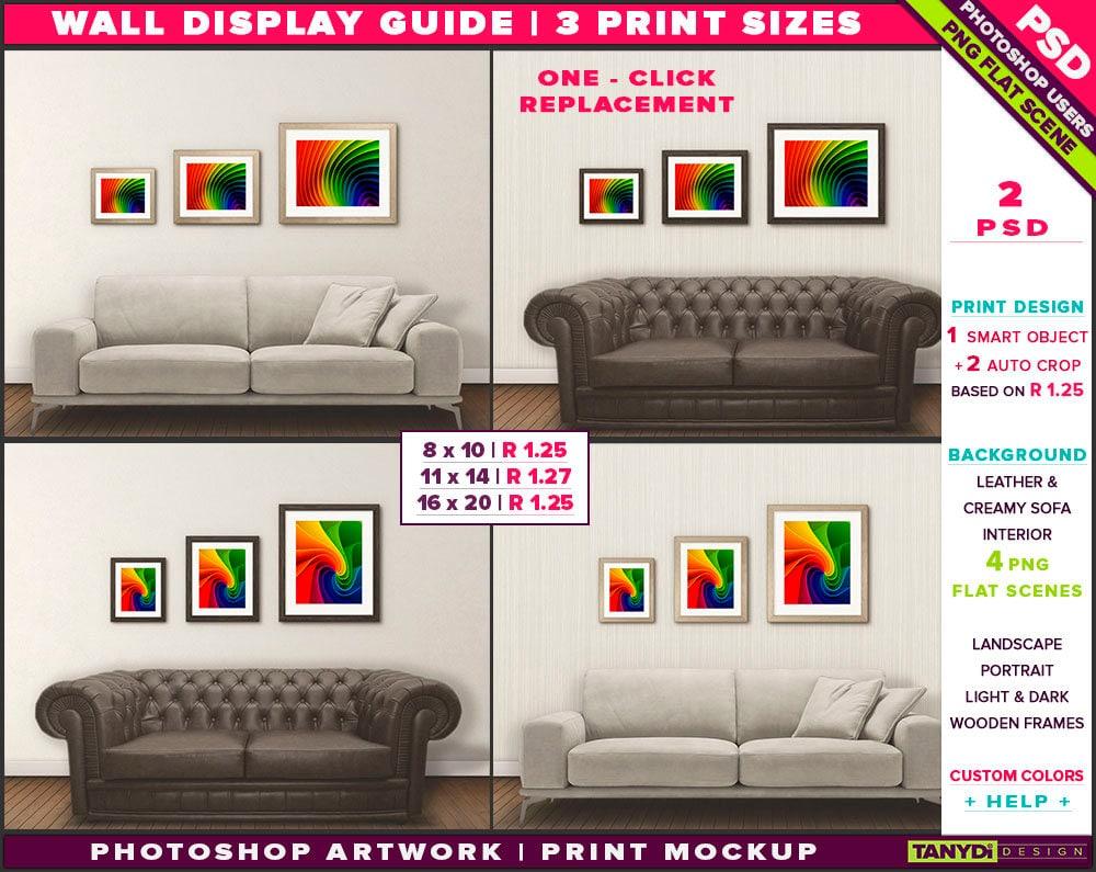 Wand-Display Guide 3 Drucken Sie Größen Photoshop Mockup 8