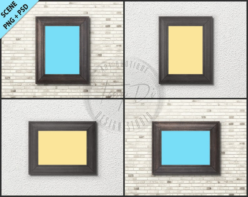 e8072e59c218 5x7 Empty vintage frame on Interior wall styled mockup W4