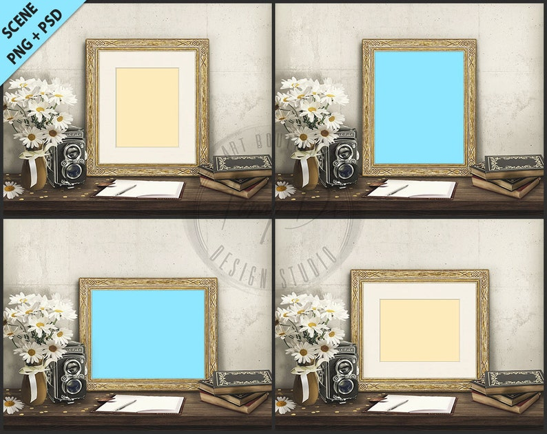 f212b3446802 Gold Frame on Vintage Table Styling4 PNG scene Empty 8x10