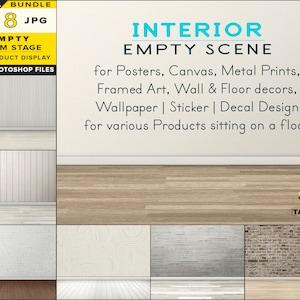 8 JPG various blank walls wooden floors rug Room stage RS-5 Interior Scene Creator Empty Light room stage JPG mockup bundle