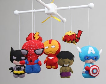 Baby-Mobile - Baby Krippe Mobile - Super Hero Handy - Kindergarten Super Heroes Mobile-Spider-Man, Batman, Captain America, Ironman, Hulk