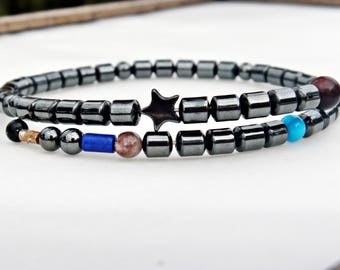 Sister Boho Gift/Dainty Bracelet/Hematite Beaded bracelet/layering bracelet/Hematite for Women/Friendship Bracelets/Everyday Bracelets/Black