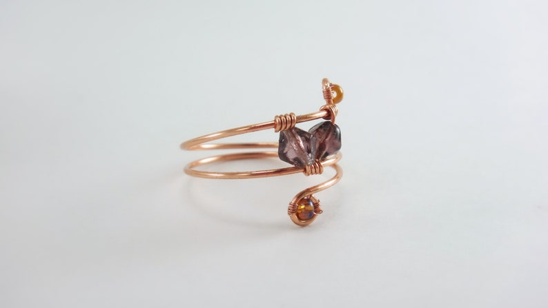 Boho Midi Ring for Women,Wire Wrapped Ring,Above Knuckle Ring,Stacking Rings,Amethyst Beads,Unique Handmade Rings,Gifts for Her,Boho Rings