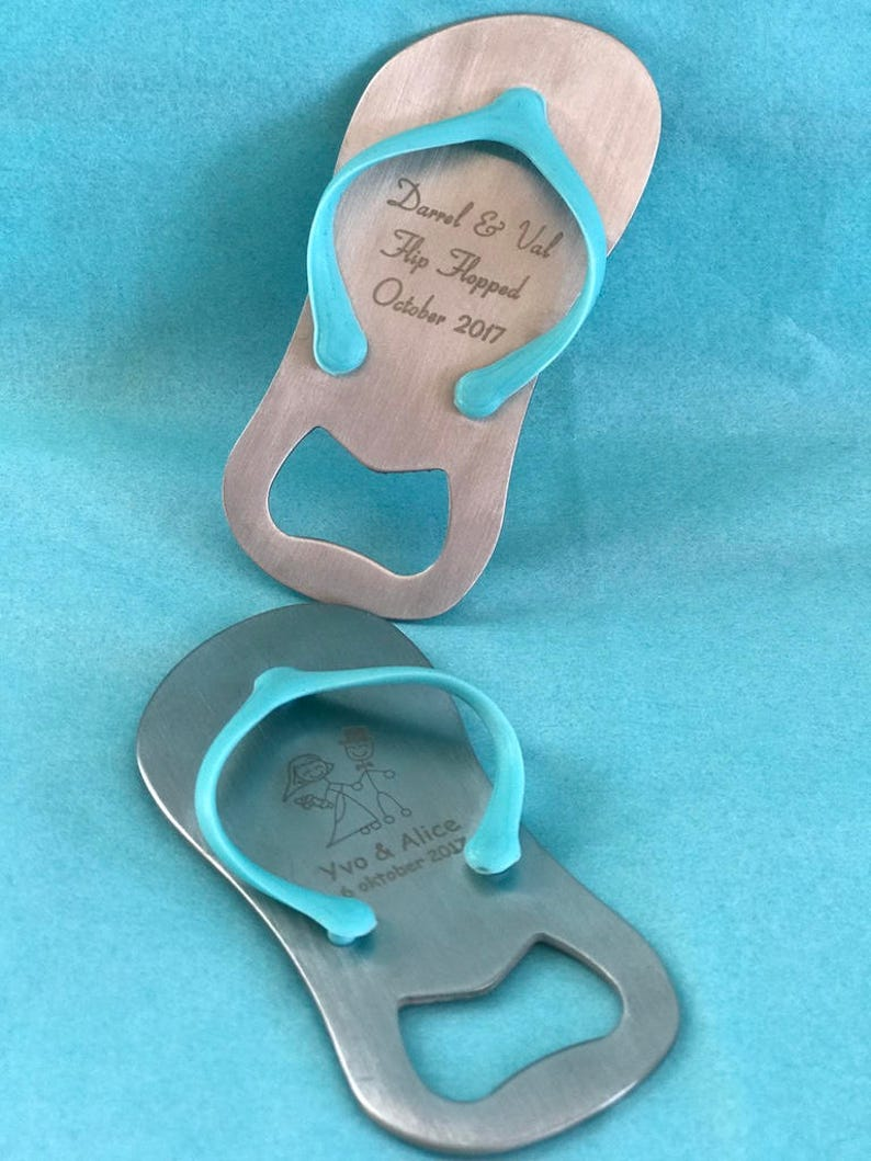 aca2d9f8b4e9b1 Engraved Stainless Steel Flip Flop Bottle Opener Engraved
