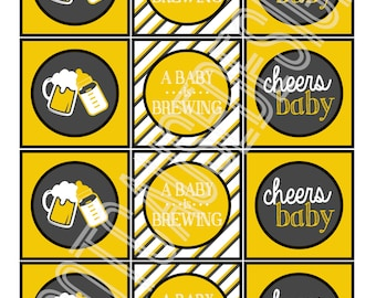 A Baby is Brewing Baby Shower Cupcake Toppers, set of 12 | Couples Baby Shower