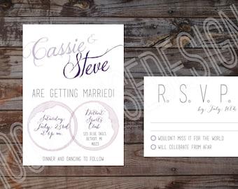 Vineyard Wedding Invitation and RSVP | Wine Wedding Invitation and RSVP