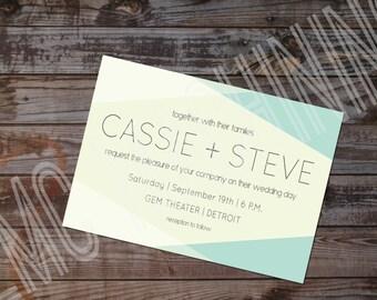 Geometric Wedding Invitation | Modern Wedding Invitation | Abstract Wedding Invitation