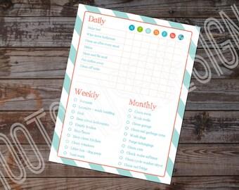 Home Chore List Printable | Customizable Chore List