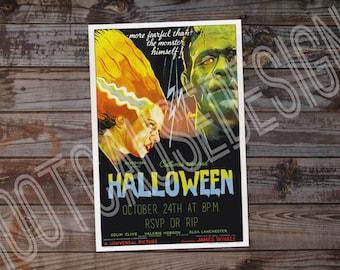 Bride of Frankenstein Halloween Party Invitation | Halloween Party Invite