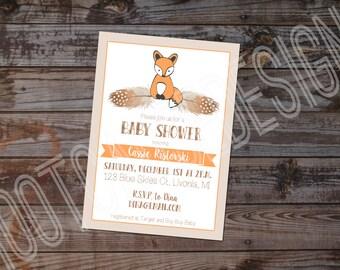 Fox Themed Baby Shower Invitation | Foxy Baby Shower Invitation