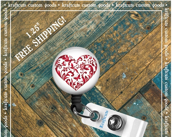Retractable ID Badge Reels - Heart. Great gift for Doctors, nurses, teachers and corporate employees! FREE SHIPPING