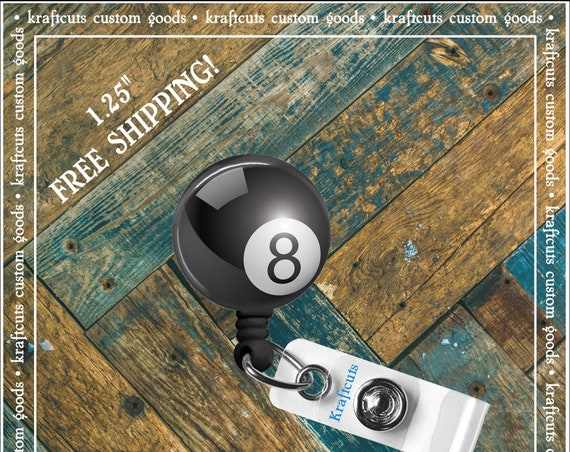 Retractable ID Badge Reels - Eight Ball. Great gift for Doctors, nurses, teachers and corporate employees! FREE SHIPPING