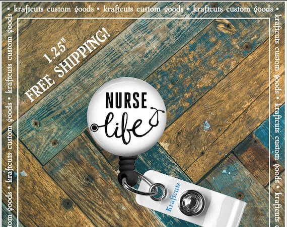 Retractable ID Badge Reels - Nurse Life. Great gift for Doctors, nurses, teachers and corporate employees! FREE SHIPPING
