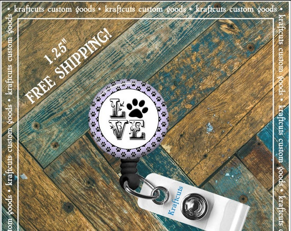 Retractable ID Badge Reels - Love My Dog. Great gift for Doctors, nurses, teachers and corporate employees! FREE SHIPPING