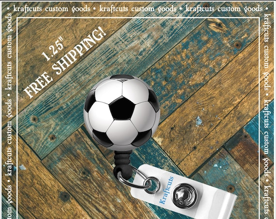 Retractable ID Badge Reels - Soccer Ball. Great gift for Doctors, nurses, teachers and corporate employees! FREE SHIPPING