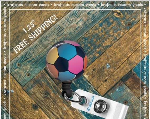 Retractable ID Badge Reels - Kick Ball. Great gift for Doctors, nurses, teachers and corporate employees! FREE SHIPPING
