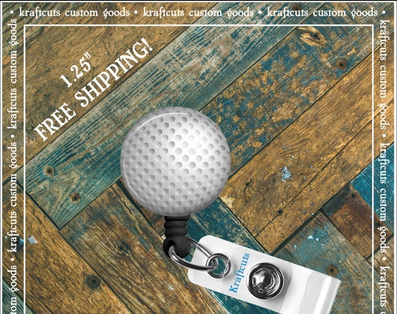 Retractable ID Badge Reels - Golf Ball. Great gift for Doctors, nurses, teachers and corporate employees! FREE SHIPPING