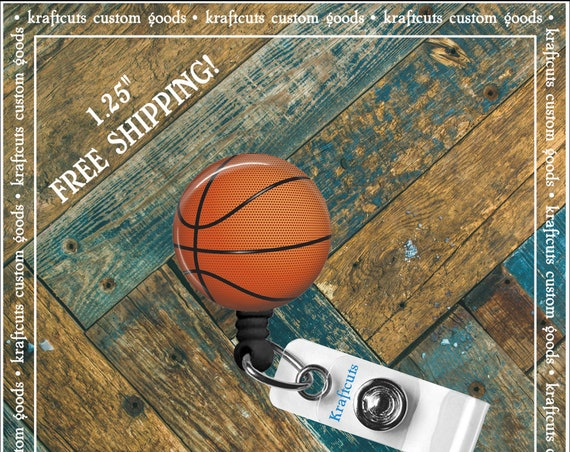 Retractable ID Badge Reels - Basketball. Great gift for Doctors, nurses, teachers and corporate employees! FREE SHIPPING