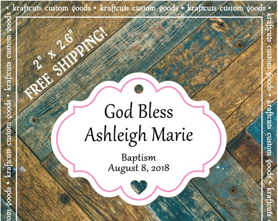 Personalized Baptism, Christening or First Communion God Bless Religious Favor Tags - Baby Girl Pink Border #765 FREE SHIPPING!