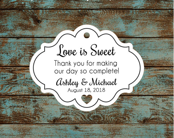 Love is Sweet Personalized Wedding Favor Tags #609 FREE SHIPPING!