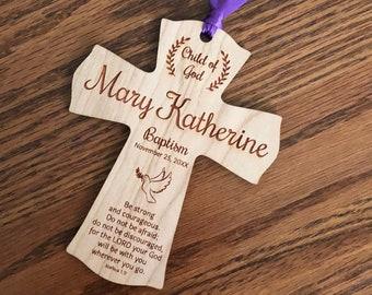 Baptism Ornament - Cherry Hard Wood - Laser Engraved