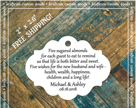 Jordan Almond Favor Tags #684 FREE SHIPPING!