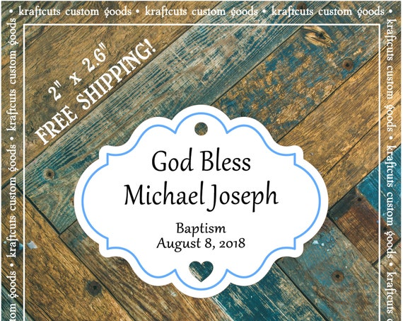 Personalized Baptism, Christening or First Communion God Bless Religious Favor Tags - Baby Boy Blue Border #766 FREE SHIPPING!
