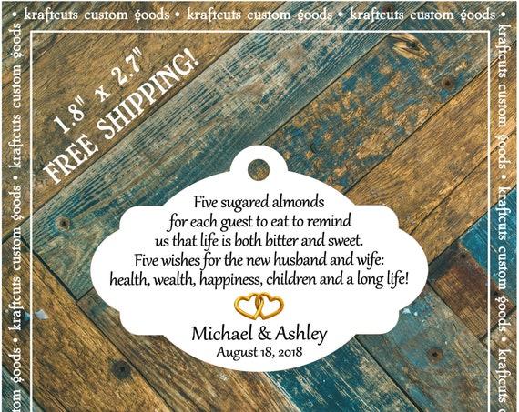 Jordan Almond Favor Tags #688 FREE SHIPPING!