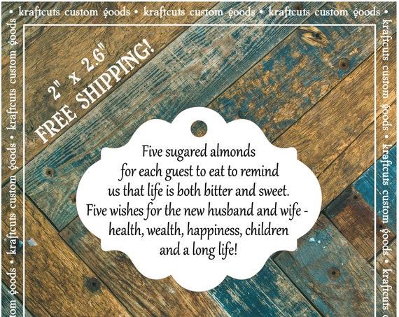 Jordan Almond Favor Tags #645 FREE SHIPPING!