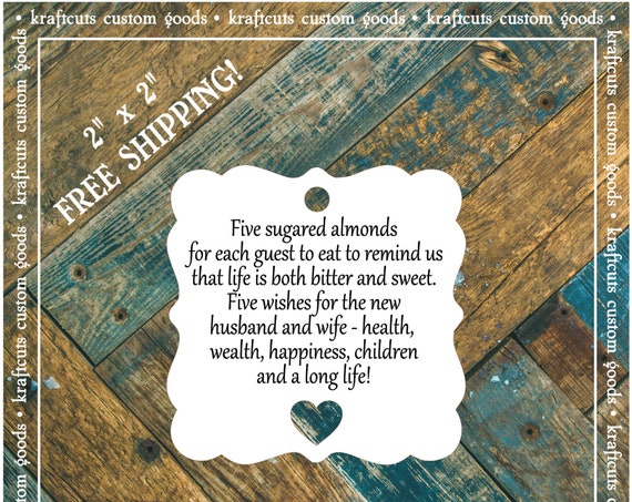 Jordan Almond Favor Tags #646 FREE SHIPPING!