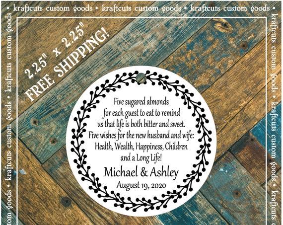 Jordan Almond Favor Tags #923 FREE SHIPPING!
