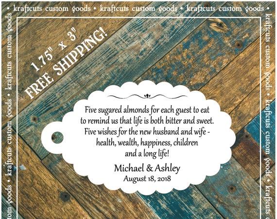 Jordan Almond Favor Tags #607 FREE SHIPPING!