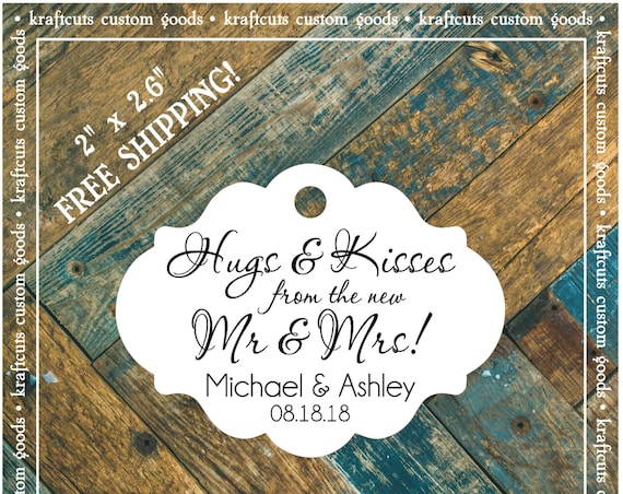 Hugs and Kisses Personalized Wedding Reception Favor Tags # 667 FREE SHIPPING!