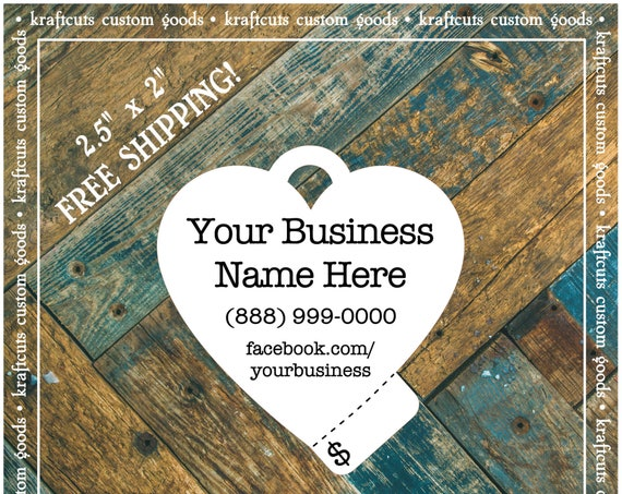 Personalized Heart Perforated Price Tags Hang Tags Custom #623 FREE SHIPPING!