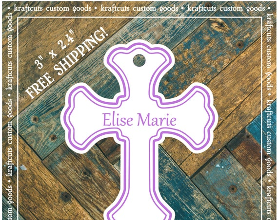 Baptism, Christening or First Communion Religious Cross Favor Tags - Baby Girl or Baby Boy Lavender #200L FREE SHIPPING!