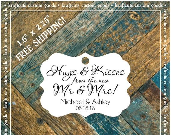 Hugs and Kisses Personalized Wedding Reception Favor Tags # 665 FREE SHIPPING!