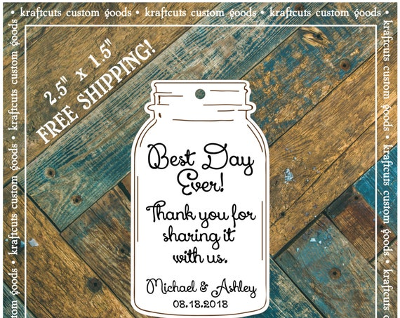 Favor or Gift Tags - Mason Jar Best Day Ever #692 FREE SHIPPING!