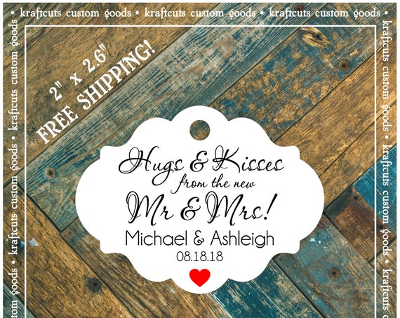 Personalized Hugs and Kisses Wedding Reception Favor Tags # 791 FREE SHIPPING!