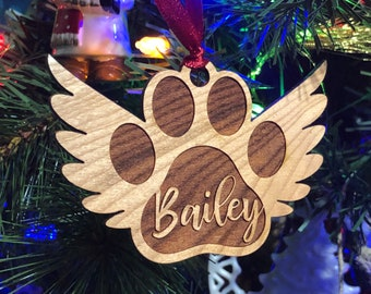 Dog or Cat Memorial Ornament - Cherry Wood - Laser Engraved
