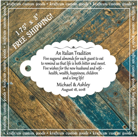 Jordan Almond Favor Tags #760 FREE SHIPPING!