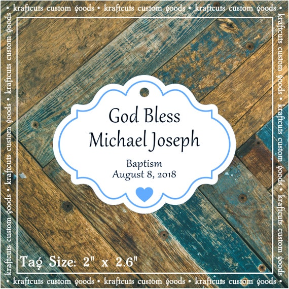 Personalized Baptism, Christening or First Communion God Bless Religious Favor Tags - Baby Boy Blue Border #769 FREE SHIPPING!