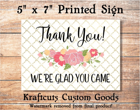Thank You Printed 5 x 7 Sign #S3
