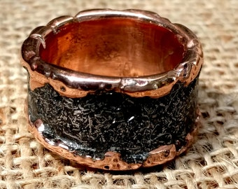 Men's Meteorite Copper Ring Band.  3 mm X 12, 14 mm Wide.