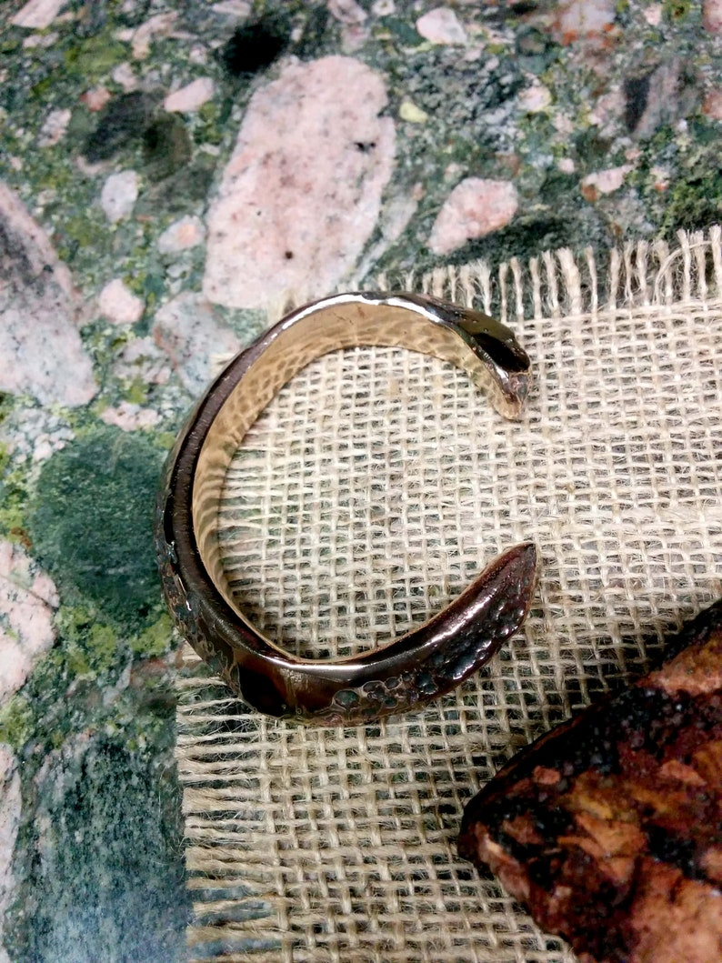 11 X 13.5 mm Thick and Wide. Rustic Pyramid Bronze Cuff Bracelet Rustic Polished