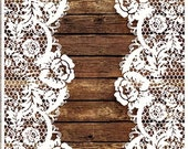 Wooden and Lace - Decorative Decoupage Paper - 3 PCS Brown White