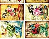 Floral Pattern - Decorative Decoupage Paper - 3 PCS Colorful