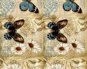 Butterfly - Decorative Decoupage Paper - 3 PCS Blue Brown Beige
