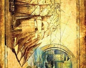 Sailer Old Map Lighthouse - Decorative Decoupage Paper - 3 PCS Brown Yellow Blue