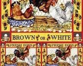 Chicken Eggs - Decorative Decoupage Paper - 3 PCS Yellow Red White